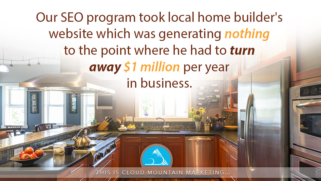 Cloud Mountain Marketing's local SEO program took a local home builder's website which was generating NOTHING to the point where he had to turn away $1 million per year in business.
