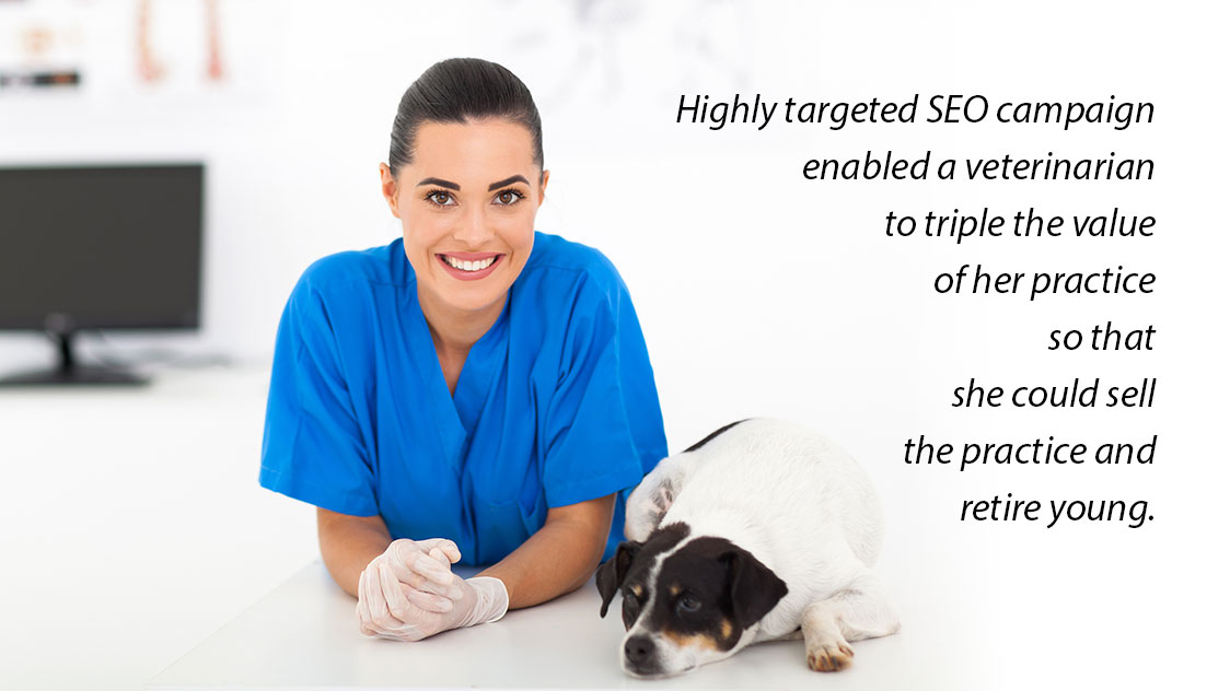 A highly targeted local SEO campaign enabled a veterinarian to triple the value of her practice so that she could sell the practice and retire young.